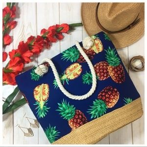Navy Pineapple Tote Bag with Rope Handle